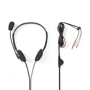 AVT analoge headset-met volumeregeling en dubbele oorschelp