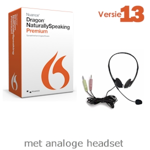 Dragon NaturallySpeaking 13 Premium met standaard analoge-headset