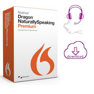 Dragon Naturallyspeaking 13 Premium spraakherkenninssoftware - met analoge -headset en elektronische download van de software