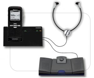 Grundig Digta 7 transcriptie-bundel: recorder met dock, voetschakelaar en headset  - Werkt ook zonder pc!