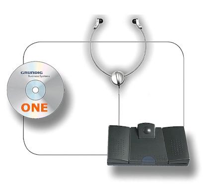 Grundig Digta Transcription Kit - Uitwerkset met voetpedaal en hoofdtelefoon + Digtasoft ONE software