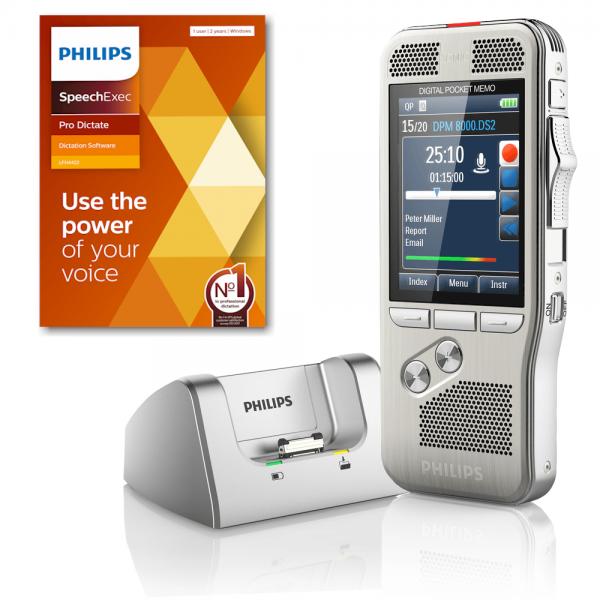 Philips PocketMemo DPM8200 memorecorder dicteerappaaraat met dockingstation en SpeechExec Pro Dictate 11 software