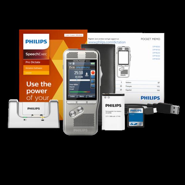Philips DPM8200 PocketMemo dicteerapparaat met SpeechExec Pro Dictate versie 11 met accessoires bij AVT Benelux