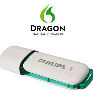 De Dragon installatiebestanden uitgeleverd op een Philips 8Gb USB-Stick