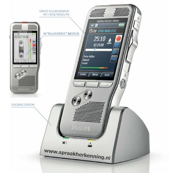Philips DPM8200 - Pocket Memo met kleurenscherm, SpeechExec Pro, bewegings-sensor, 360-graden microfoon