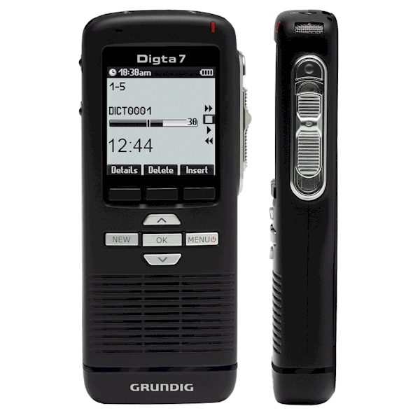 Grundig Digta7 digitale (memo) recorder met o.a. schuifschakelaar en pincode toegangsbeveiliging