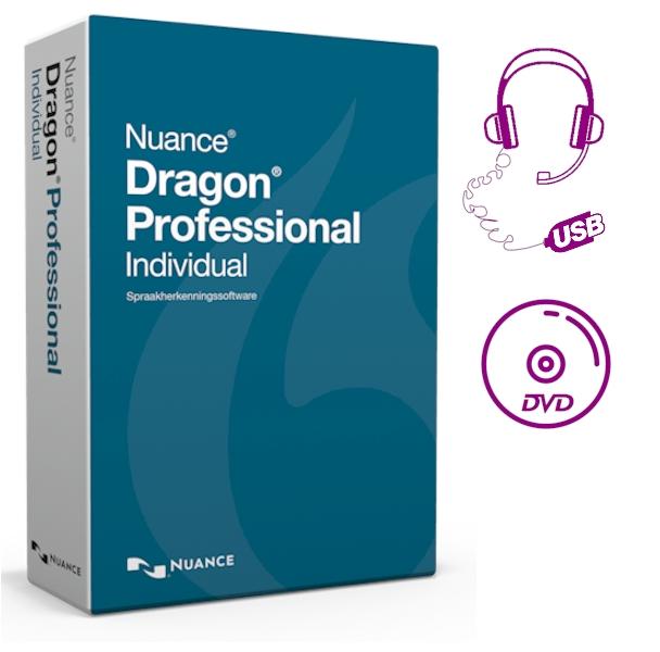 Dragon Professional Individual 14 met USB-headset en DVD