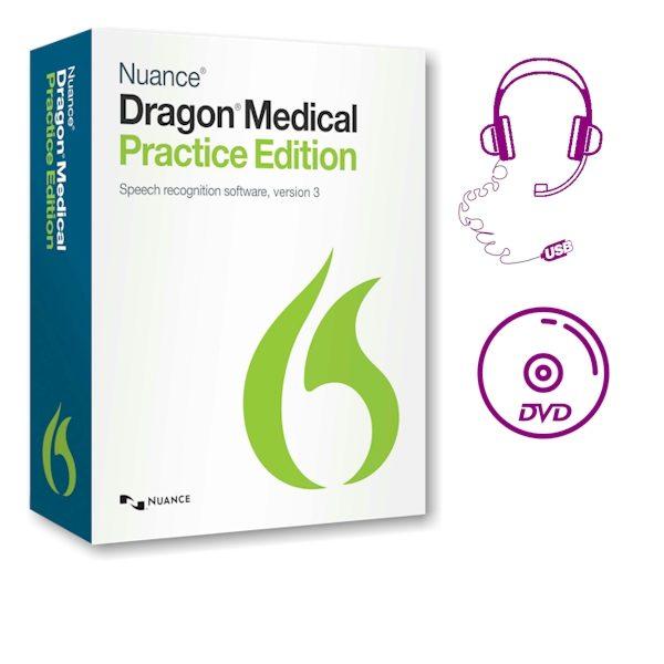 Dragon Medical Practice Edition 3 - met USB-headset en DVD