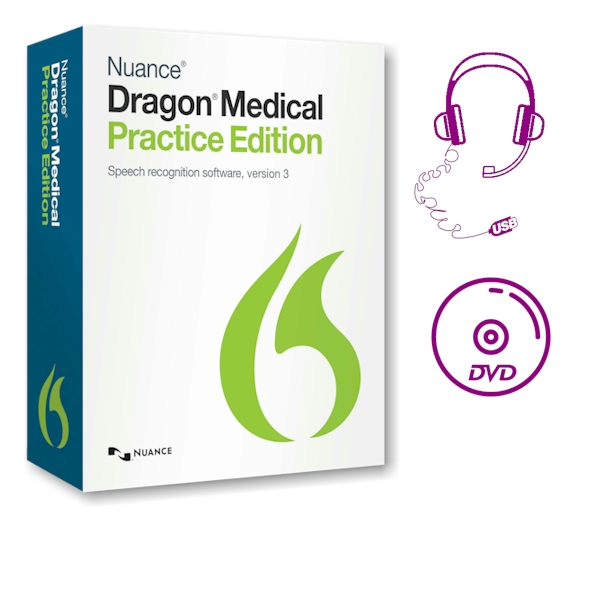 Dragon Medical Practice Edition 3 - met USB-headset en DVD