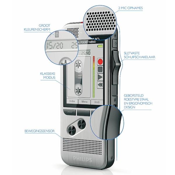 Philips PocketMemo DPM7000/DPM7200 recorder met uitleg van de functies en knoppen