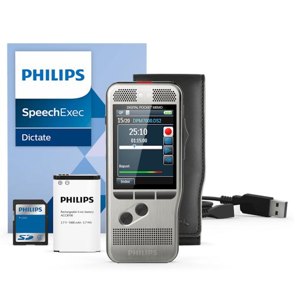 Philips PocketMemo recorder DPM7000/DPM7200 standaard met SpeechExec software, SD-kaart en opbergetui