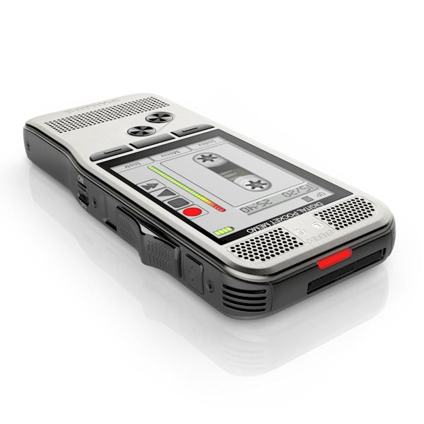 Philips PocketMemo DPM7000/DPM7200 met opnamebandje op het scherm