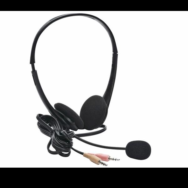 De standaard analoge stereo headsets met USB-adapter voor gebruik met Dragon spraakherkenning
