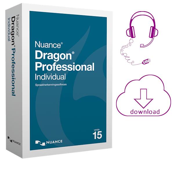 Dragon Professional Individual 15 spraakherkenning geleverd als elektronische download en inclusief een USB headset