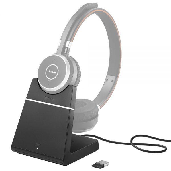Oplaad/dockingstation voor Jabra Evolve 65 headset. Met led-indicatie en gemakkelijk opladen van uw Jabra Evolve 65 headset