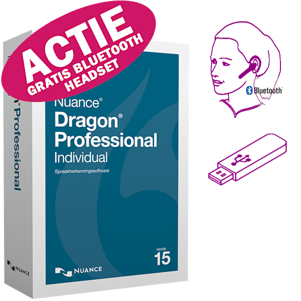 Dragon Professional Individual 15 met GRATIS Jabra Stealth Bluetooth headset