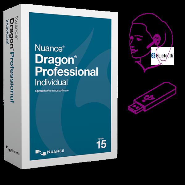 Dragon 15 Professional Individual Wireless - met Jabra Stealth Bluetooth headset en installatiebestanden op een 32Gb USB-stick