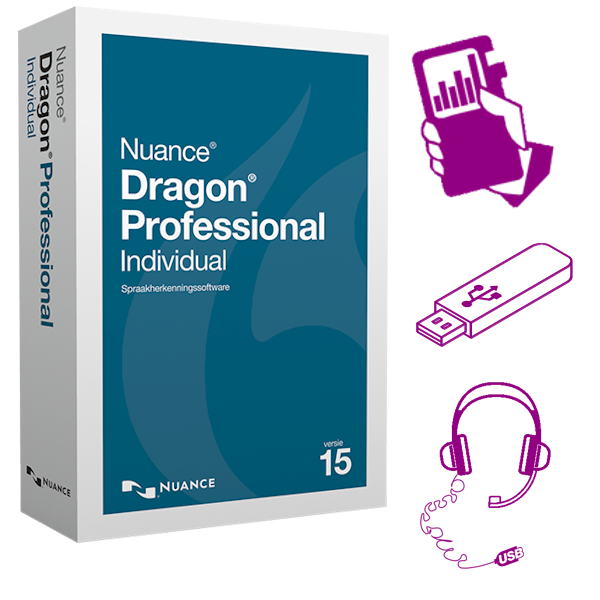 Dragon 15 Professional Individual Mobile - bundel met Philips DVT4110 digitale memorecorder USB-stick en USB-headset