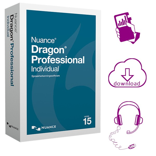 Dragon Professional Individual 15 met Philips DVT4110 digitale memorecorder en AVT USB Headset