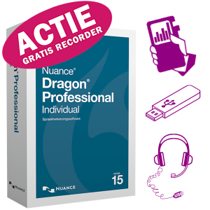 Dragon Professional Individual 15 met GRATIS Philips DVT4110 digitale memorecorder