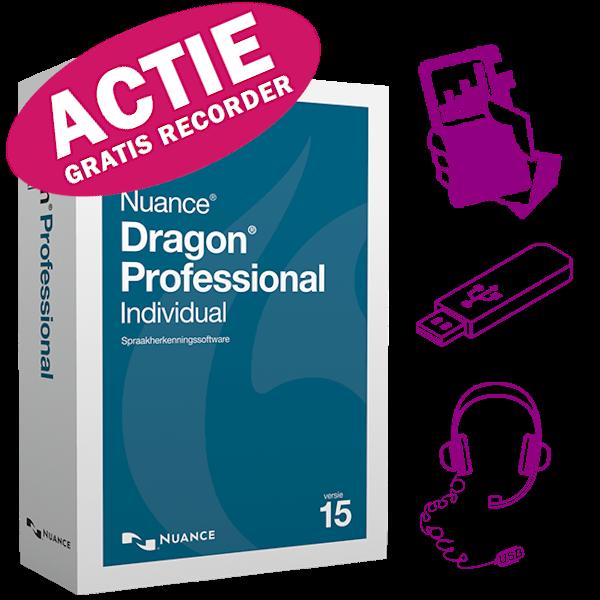 Dragon Professional Individual 15 met GRATIS Philips DVT4110 digitale memorecorder
