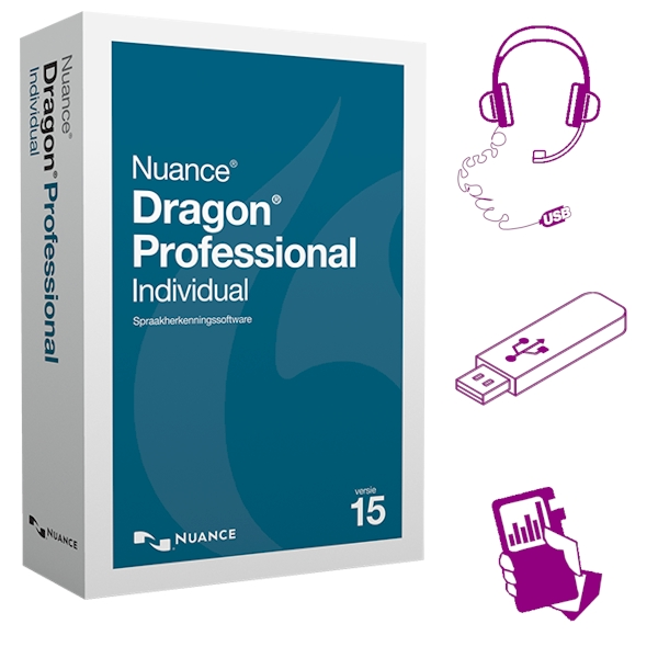 Dragon Professional Individual 15 mobile met digitale memorecorder en software op usb-stick