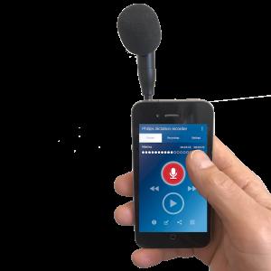 speechware-tabletmike-met-iPhone-voor-nauwkeurig-opnemen-van-interviews-en-dictaten