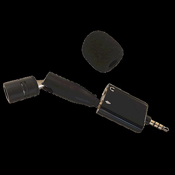 SpeechWare-TabletMike-met-iPhone-voor-nauwkeurig-opnemen-van-interviews-en-dictaten-closeup-met-iphone-adapter