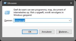 Systeeminstelling Windows geluiden oproepen via het windows uitvoeren-scherm en mmsys commando