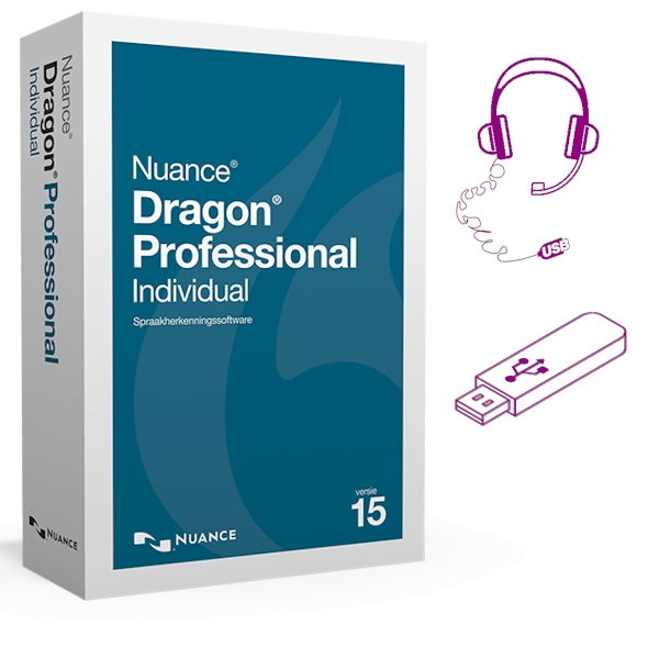 Dragon 15 Professional Individual met USB-headset en software op USB-stick