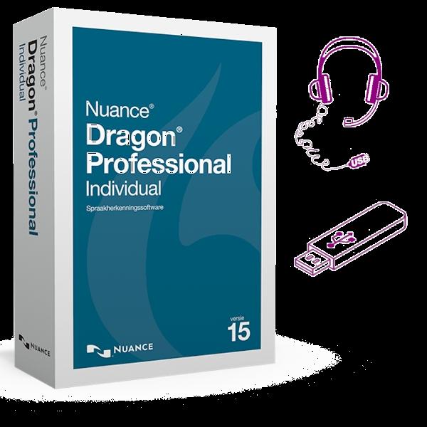 Dragon 15 Professional Individual met USB-headset en software op USB-stick