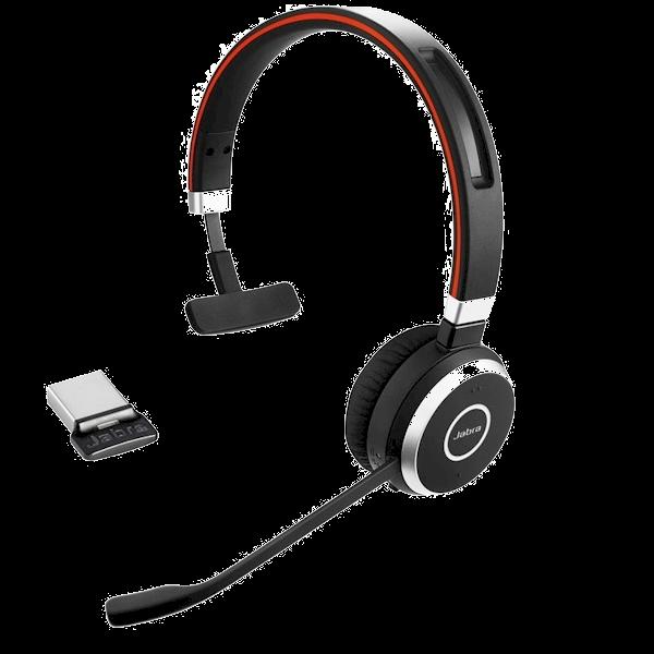 Jabra Evolve 65 mono Bluetooth headset met micro USB-adapter zowel draadloos als met draad te gebruiken voor spraakherkenning en telefonie
