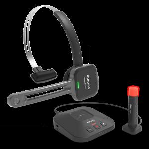 Philips SpeechOne PSM6300 Dicteerheadset met basistation voor hadig opladen en los statuslampje om aan uw collega's aan te geven wanneer u beschikbaar of bezet bent.