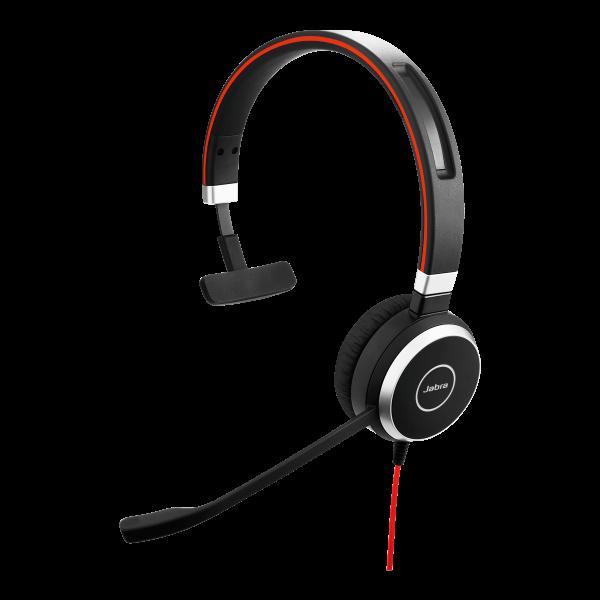 Jabra Evolve 40 USB mono-headset met USB- en 3.5mm aansluiting en Noise Canelling functie voor Dragon spraakherkenning in rumoerige ruimtes