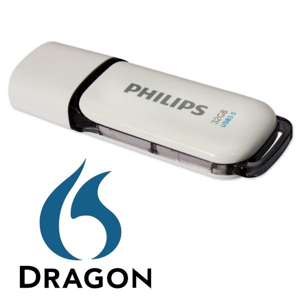 AVT levert de Dragon installatiebestanden op een Philips snow 32GB 3.0 usb-stick