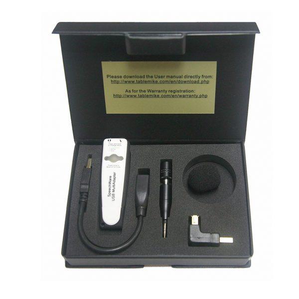 AVT SpeechWare TravelMike ultra noise cancelling microfoon voor Dragon spraakherkenning wat zit er in de doos