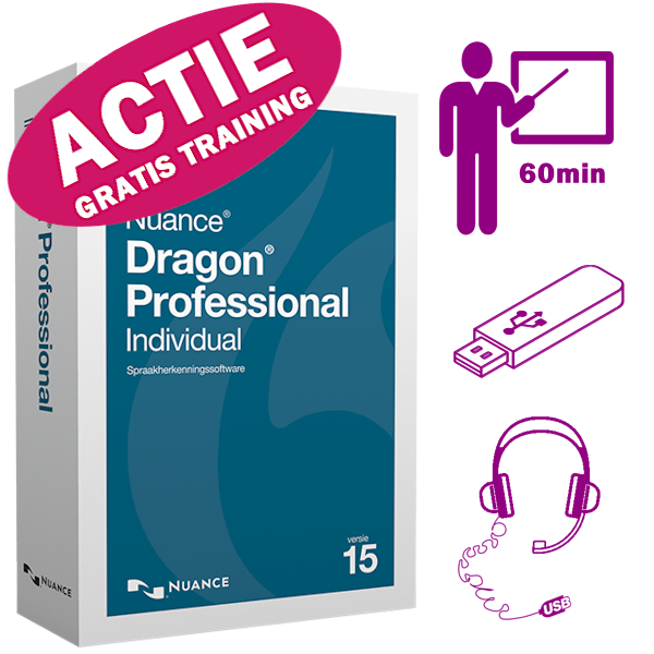 Dragon 15 Professional Individual met 32gb usb-stick, usb-headset en 60 minuten personal training