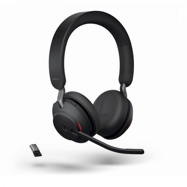 Jabra Evolve2 65 Stereo Bluetooth headset met micro USB-adapter zowel draadloos als met draad te gebruiken voor spraakherkenning en telefonie