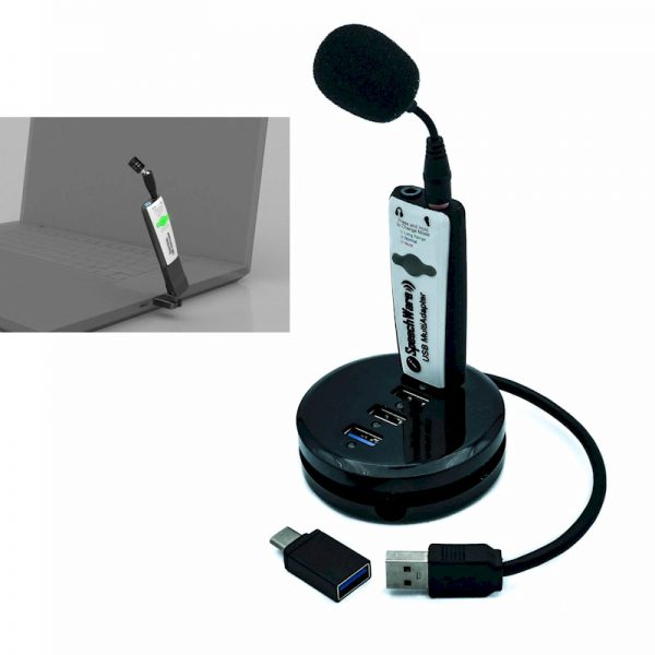 AVT SpeechWare TravelMike + Base - ultra noise cancelling microfoon voor Dragon spraakherkenning met USB-Dock/hub