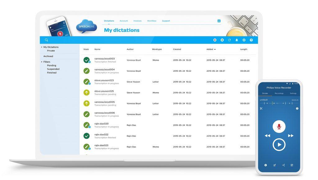 Philips SpeechLive cloud oplossing voor al uw dictaten en opnames