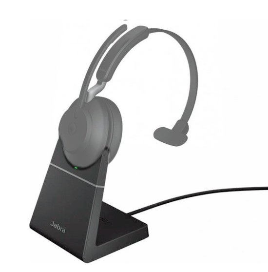 Oplaadstation, dockingstation voor Jabra Evolve2 65 headset - voorbeeld met headset