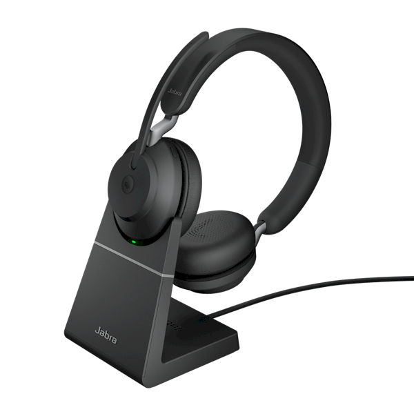 Oplaadstation, dockingstation voor Jabra Evolve2 65 headset - voorbeeld met duo modelheadset