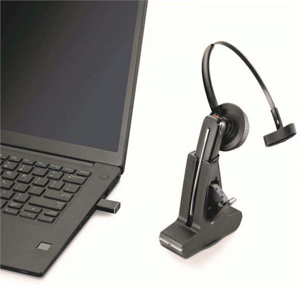 Poly Savi 8245 draadloze Dect headset voor Dragon Spraakherkenning.- met handige kleine USB-adapter
