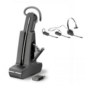 Poly Savi 8245 draadloze Dect headset voor Dragon Spraakherkenning.- met 3 draagmethodes en aparte batterij oplaadmogelijkheid. inclusief reserve batterij