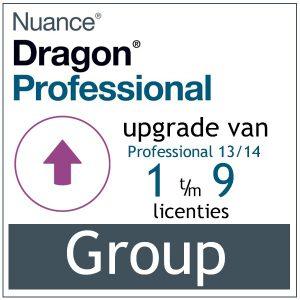 AVT spraak naar tekst - Spraakherkenning - Dragon Professional Group - Upgrade van Professional 13/14 - 1-9 gebruikers - Bij AVT